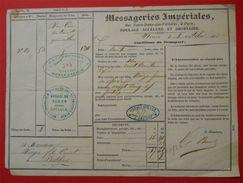 1853 Roulage Messageries Imperiales à Paris Caisse Quincaillerie Pour Le Perthus 66 Voir Cachets Fiscal Au Dos - Transport