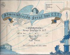 Telegraph.Christmas Telegraph Service.Stationery.Central Telegraphy Obligation Lisbon 1942.2ª WW.Briefpapier.4scn.Rare - Telecom