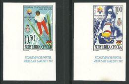Bosnia Serbia Yugoslavia Serbische Republik Winter Olympic Games Salt Lake IMPERFORATED Ungezähnt Ski Jump, Bobsleigh - Winter 2002: Salt Lake City