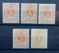 Belgie 1869  OBP Nr 28* MH   5ex Kleurnuance - 1869-1888 Lying Lion