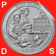 USA, Three Coins For 25 Cents, Quater Of 2017, 39 Park,  P, D,S - Federal Issues