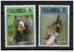 Colombia  1992 SC 1051-1052 MNH Wildlife Bear Owl - Colombia