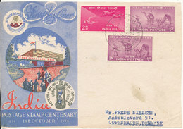 India Frontpage Of A FDC 1-10-1954 Sent To Denmark (not A Cover Only The Frontpage) - FDC