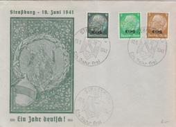 """Enveloppe Spéciale 3, 5 Et 6 Pf Elsass Obl. Cachet Illustré """"Ein Jahr Frei"""" Strassburg (T 341 A 6) Le 19/06/41 - Postmark Collection (Covers)"""