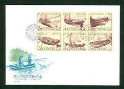 Sweden FDC 1988  Cachet. Inland Boats.  Engraver Martin Morck - FDC