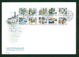 Sweden FDC 1988. Discount Stamps Midsummer. Ship,Music,Flowers. Engraver Z Jakus - FDC