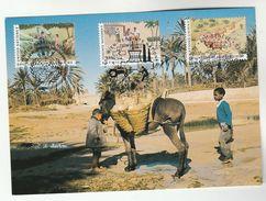1986  UNDP UN JOINT ISSUE FDC Maximum Card DONKEY, TREE, HEALTH  Tractor Pmk  Geneve, Vienna, NY - New York/Geneva/Vienna Joint Issues