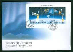 Sweden. FDC 1991 Cachet. Europa 91.  Europe In Space. Engraver M. Morck - FDC