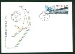 Sweden. FDC Cachet 1996.  Train Mail Carriages 1862-1996. Engraver Lars Sjooblom - FDC