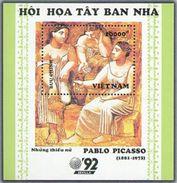 Vietnam Viet Nam MNH Perf Souvenir Sheet 1992 : Spanish Art Paintings / Picasso (Ms644B) - Vietnam