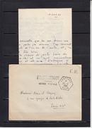 """BP LARTIGUE  Agence Postale  Lettre + Envel  Le 20 3 1961 Cachet Hexag Perle   """"  LARTIGUE ORAN  """"   Pour PARIS - Military Postmarks From 1900 (out Of Wars Periods)"""