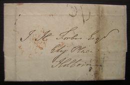 1833 Marques Sur Lettre  à Identifier Pour Londres Et Cachet Rouge 4.EVEN.4 18 NO 1833 Au Revers - ...-1840 Préphilatélie
