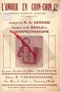 59-TOURCOING-RARE PARTITION MUSIQUE-L' AMOUR EN COIN-COIN-JAVA ACCORDEON PLATTEEUW- DEROSSI-E.BASILE-R.VANMEERHAEGHE - Scores & Partitions