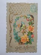 Jolie Carte Fantaisie Gaufrée - Avec Collage De Chromo -Oiseaux - Roses - Gage D'Affection - Autres