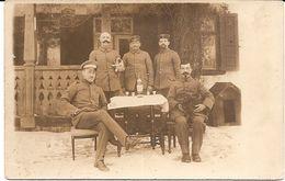 Carte Photo Militaire Allemande 1914 1918 - Soldats Landsturm Avec Petit Chien - Guerra 1914-18