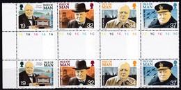 Man, 1990, 438/41, Winston Churchill. MNH ** GUTTER PAIR - Man (Eiland)