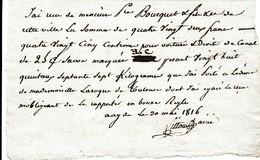 Mai 1816 - CANAL DU MIDI - AGDE-TOULOUSE - Droit De Canal - Documents Historiques