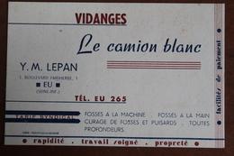 1951  -   EU   -   LE  CAMION  BLANC   CARTE  DE  VISITE  FAISANT  OFFICE  DE  FACTURE  AVEC  FISCAL   2   PHOTOS - Steuermarken