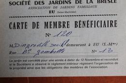 1980  -   EU   -   JARDINS  DE  LA  BRESLE  CARTE  DE  MEMBRE  FAISANT  OFFICE  DE  FACTURE  AVEC  FISCAL   2   PHOTOS - Steuermarken