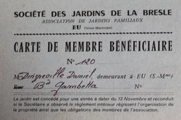 1982  -   EU   -   JARDINS  DE  LA  BRESLE  CARTE  DE  MEMBRE  FAISANT  OFFICE  DE  FACTURE  AVEC  FISCAL   2   PHOTOS - Steuermarken