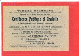 Invitation Comité Michelet Image Du Rhin 5 Decembre 1918 - Documents Historiques