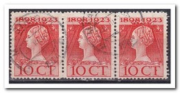 Nederland, Queen Wilhelmina, NVPH 124H, Strook Van 3 - Oblitérés