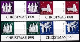 Man, 1991, 484/87,  Weihnachten. MNH **, GUTTER PAIR - Man (Eiland)