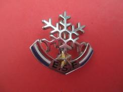 Médaille De Sport/Ski/ESF/Flocon Avec Etoile/DECAT Paris/ Bronze Nickelé Cloisonné Peint/Vers 1960 - 1980        SPO205 - Invierno