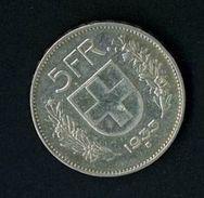 SVIZZERA - SUISSE - YEAR 1933 - 5 FR. FRANCHI ARGENTO - QUALITA' B - Suisse