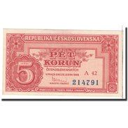 Tchécoslovaquie, 5 Korun, 1949, 1949-01-25, KM:68a, NEUF - Tchécoslovaquie