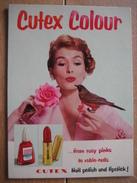 Carton Publicitaire Original (1956) - CUTEX COLOUR Nail Polish And Lipstick - Vernis à Ongles Et Rouge à Lèvres - Placas De Cartón