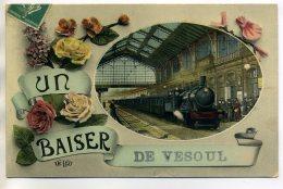 """70 VESOUL Le Train En Gare Voyageurs Quai """" Un Baiser De ...""""   1910 Timb   /D16-2017 - Vesoul"""