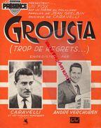 PARTITION MUSIQUE-GROUSIA-TROP DE REGRETS-JEAN GRELBIN-CARAVELLI-ANDRE VERCHUREN-ACCORDEON-VIOLON-EDITION PRESENCE PARIS - Scores & Partitions
