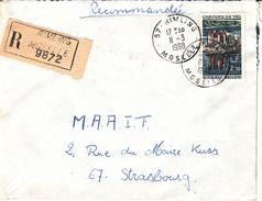 Env Reco Affr Y&T 1506 Obl RIMLING Du 11.3.1968 Adressée à Strasbourg - Alsace Lorraine