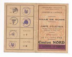 Ville De DIJON - Carte D'Electeur - Mme RIGOT 1947 - Cartes
