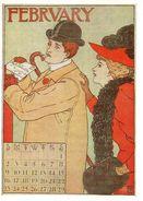 CPSM Signée MS- Calendrier édité En 1895 Aux USA - FEBRUARY - Illustrateurs & Photographes