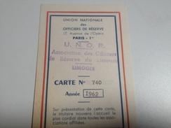 Carte Identité, UNION NATIONALE DES OFFICIERS DE RESERVE , 1962 - Documents