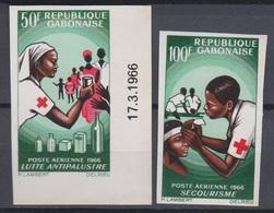 Gabon 1966  PA 43 / 44  Croix Rouge  Red Cross Imperf  ** MNH - Gabon