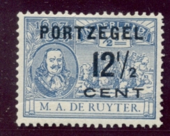 Nederland - 1907 - 12,5 Cent Portzegel P39 Met Plaatfout 87P In Basiszegel - MH - Errors & Oddities