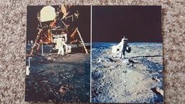 CPSM LA CONQUETE DE LA LUNE PAR APOLLO XI JUILLET 1969 ALDRIN QUITTE LE LEM AVEC SES INSTRUMENTS SUR LA SURFACE LUNAIRE - Astronomia