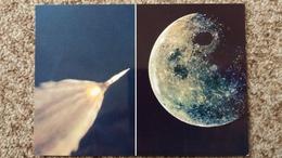 CPSM LA CONQUETE DE LA LUNE PAR APOLLO XI JUILLET 1969 LA FUSEE EN VOL VERS LA LUNE PHOTO DE LA FACE CACHEE DE LA LUNE 2 - Astronomia