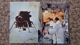 CPSM LA CONQUETE DE LA LUNE PAR APOLLO XI JUILLET 1969 LE LEM DS SA DESCENTE VERS LA LUNE ET ARMSTRONG A L INTERIEUR 3 - Astronomia