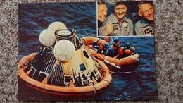 CPSM LA CONQUETE DE LA LUNE PAR APOLLO XI JUILLET 1969 L AMERISSSAGE DE LA CAPSULE DS LE PACIFIQUE 3 COSMONAUTES 10 - Astronomia