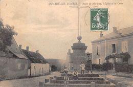 89-QUARRE-LES-TOMBES- ROUTE DE MARIGNY- L'EGLISE ET LA CROIX - France