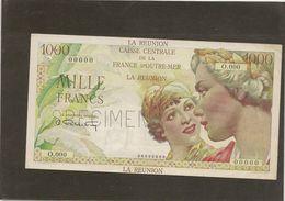 Billet Réunion 1000 Francs La Bourbonnais  Spécimen SPL  Juste Des Trous Dépingle RRR - Reunion