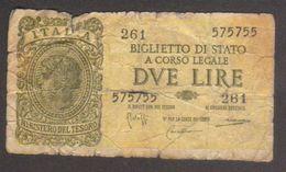 Biglietto Di Stato Da 2 Lire - Circolato - Pieghe E Strappi - W - [ 1] …-1946 : Koninkrijk