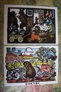 Painter Malakov -  Hedgehog And Hare  - Old  Postcard - Igel Herisson 1988 - 2 PCs Lot - Other