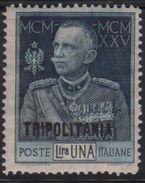 1925-26 Tripolitania Giubileo Del Re 1 L. Dent.13 1/2 MLH - Tripolitania
