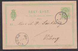 Veile Danmark Ganzsachenkarte Nach Viborg 1892 - 1864-04 (Christian IX)