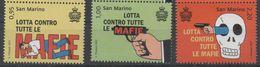 SAN MARINO , 2017, MNH, FIGHT AGAINST THE MAFIA, GUNS, 3v - Briefmarken